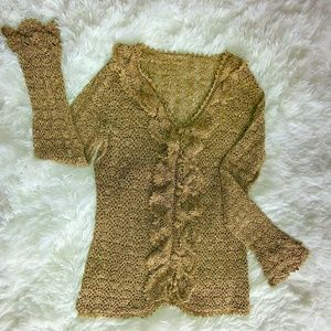 Crocheted Bronze Boho Chic Cardigah With Ruffles